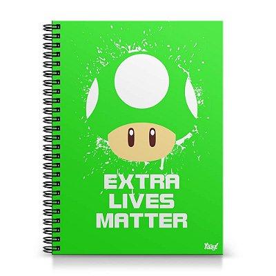Caderno Universitário Capa Dura 1x1 - Cogumelo Extra Lives Matter
