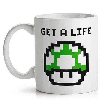 Caneca Cogumelo Pixel Get a Life