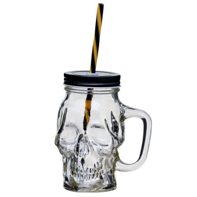 Caneca de Vidro Caveira Skull com tampa e canudo