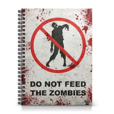 Caderno Universitário Capa Dura 1x1 - Do Not Feed the Zombies
