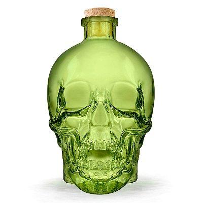 Garrafa de vidro Caveira Skull - verde