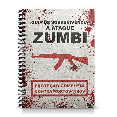 Caderno Universitário Capa Dura 1x1 - Guia de sobrevivência a ataque Zumbis