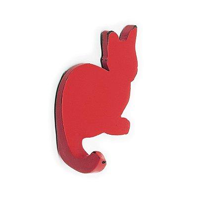 Cabideiro Porta Chaves Rústico Gatinho - vermelho
