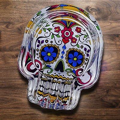 Cinzeiro de Vidro Caveira Mexicana - cores sortidas