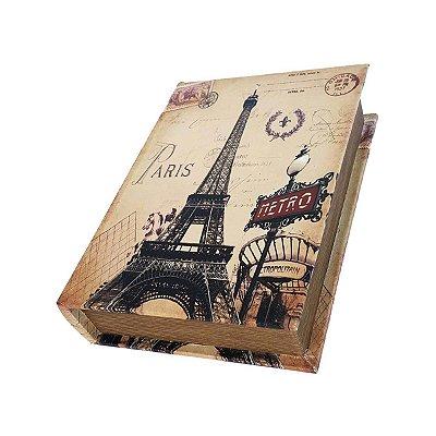 Caixinha Livro Decorativa Paris Metro - 18 x 13 cm