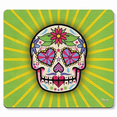 Mouse pad Caveira Mexicana Dia de Los Muertos - verde