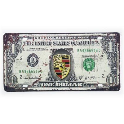 Placa de Metal Decorativa One Dollar Porsche