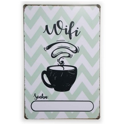 Placa de Metal Wifi Coffee - 30 x 20 cm