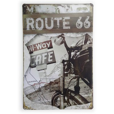 Placa de Metal Route 66 Hi-Way Cafe - 30 x 20 cm