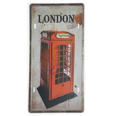 Placa de Metal Decorativa London Telephone