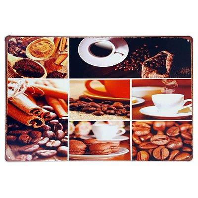 Placa de metal decorativa Retrô Just Coffee