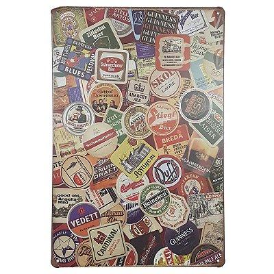 Placa de Metal Cervejas - 30 x 20 cm