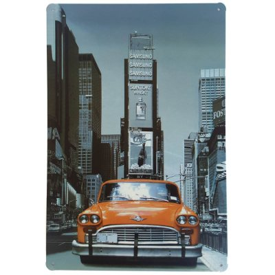 Placa de Metal Decorativa NY - 30 x 20 cm