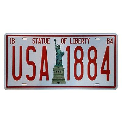 Placa de Metal Decorativa USA 1884 - 30,5 x 15,5 cm
