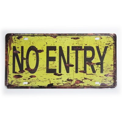 Placa de Metal Decorativa Não Entre - No Entry - 30 x 15 cm