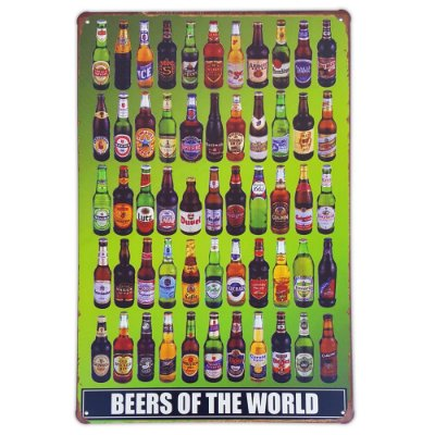 Placa de metal decorativa Retrô Beers of The World