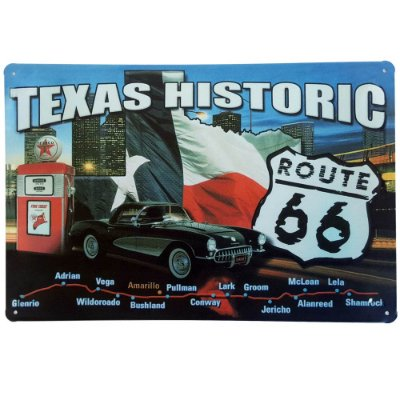 Placa de Metal Decorativa Texas Historic - 30 x 20 cm