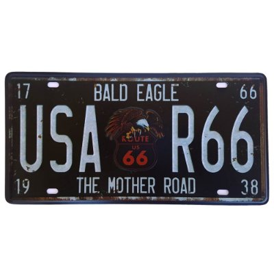 Placa de Metal Decorativa Bald Eagle Route 66 - 30,5 x 15,5 cm