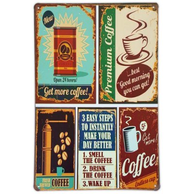 Placa de metal decorativa Retrô Get More Coffee