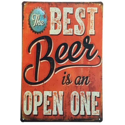 Placa de Metal Decorativa Best Beer is an Open One - 30 x 20 cm