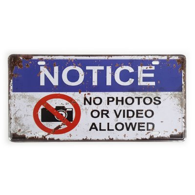 Placa de Metal Decorativa No Photos or Video - 30 x 15 cm