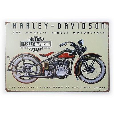 Placa de Metal Harley-Davidson The World's Finest Moto - 30 x 20 cm