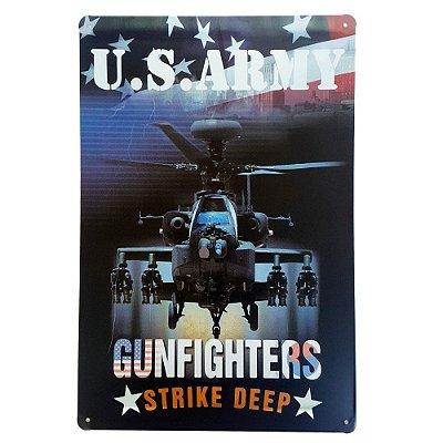 Placa de Metal Decorativa US Army Strike Deep - 30 x 20 cm