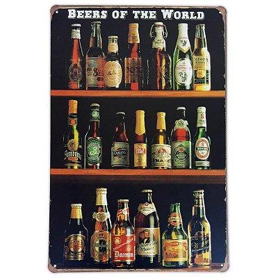 Placa de metal decorativa Retrô Beers of The World 2
