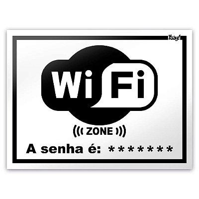 Placa - WiFi Zone - 20 x 15 cm