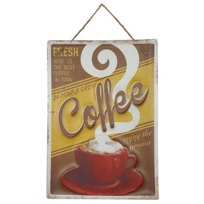 Placa de Metal Alto Relevo Coffee