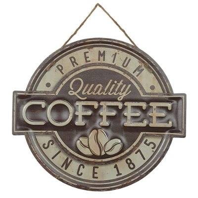 Placa de Metal Alto Relevo Coffee Premium Quality Since 1875