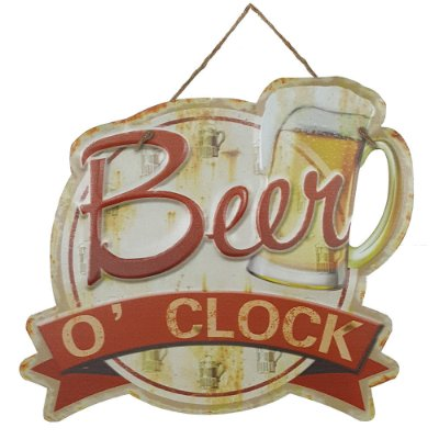 Placa de Metal Alto Relevo Beer o Clock