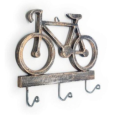 Cabideiro Porta Chaves Rústico Bicicleta - Resina cor cobre