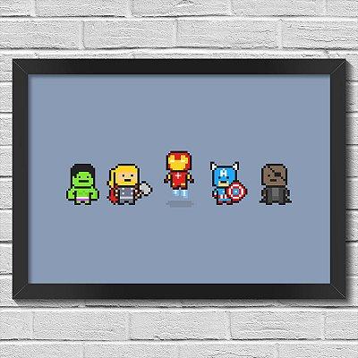 Poster A3 com Moldura Avengers Pixels