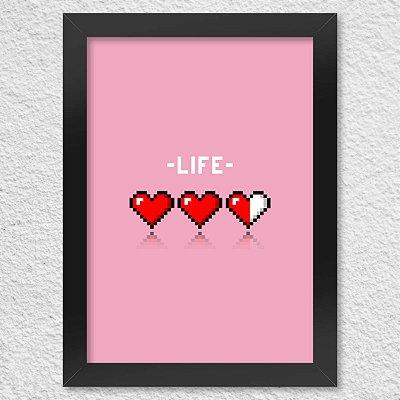 Poster com Moldura 8-bit Life - rosa