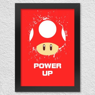 Poster com Moldura Cogumelo Power Up