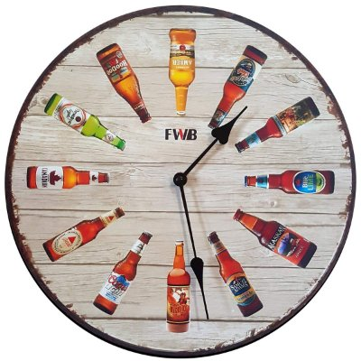Relógio de Parede Retrô Garrafas de Cerveja