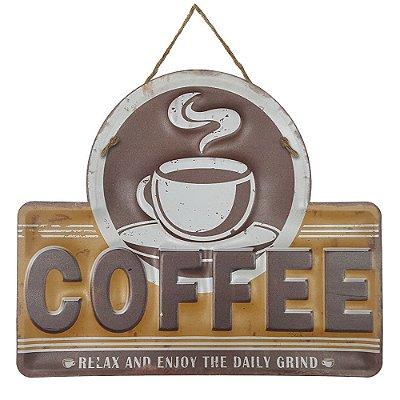 Placa de Metal Alto Relevo Coffee Relax and Enjoy