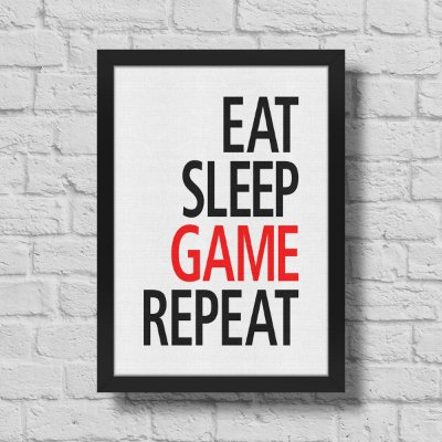 Quadro A3 Gamer Eat Sleep Game Repeat