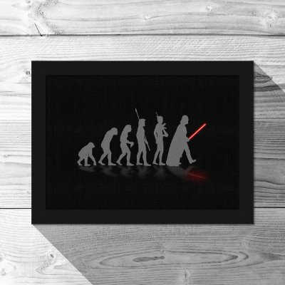 Quadro A4 Geek Evolution - preto - 21 x 30 cm