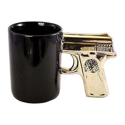 Caneca Revolver Pistola Glock - preta com alça dourada