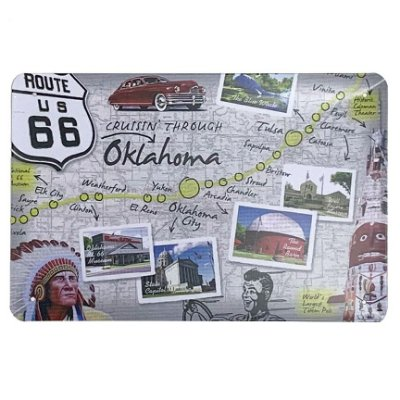 Placa de Metal Route 66 Oklahoma