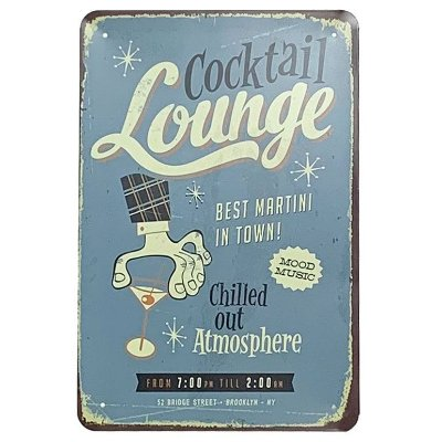 Placa de Metal Cocktail Lounge
