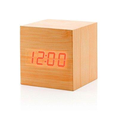 Relógio Cubo de Madeira - marrom claro