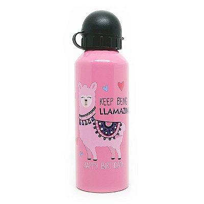 Garrafa de Alumínio Keep Being Llamazing - rosa