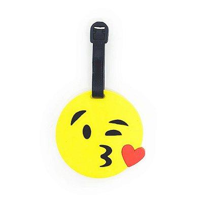 Tag de Mala para viagem Emoticon - Emoji Beijinho com amor