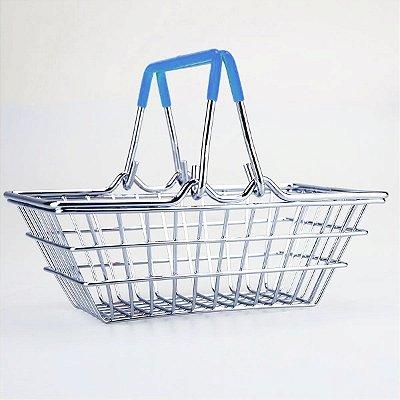Porta Trecos Mini Cesta de Compras - azul