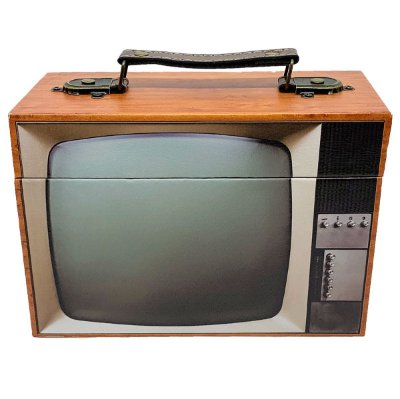 Caixa Decorativa de madeira TV retrô - marrom