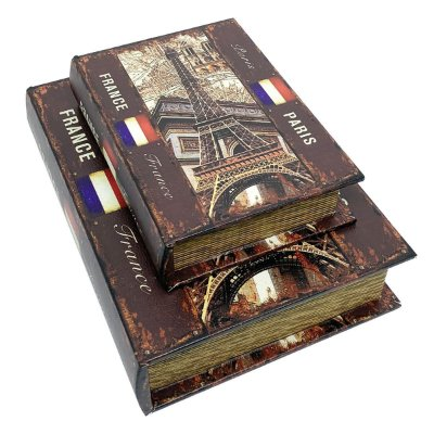 Kit Caixa Livro Decorativa France Paris - 2 peças