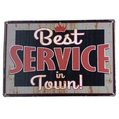 Placa de Metal Best Service in town - 30 x 20 cm